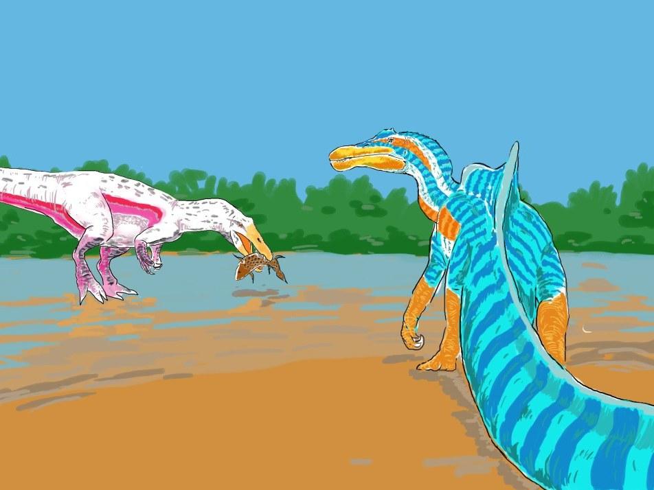 Szene mit zwei Spinosaurier-Arten in einem Lebensraum,