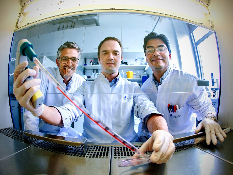 Andreas Zietzer (Mitte), Felix Jansen (links) und Rabiul Hosen (rechts)