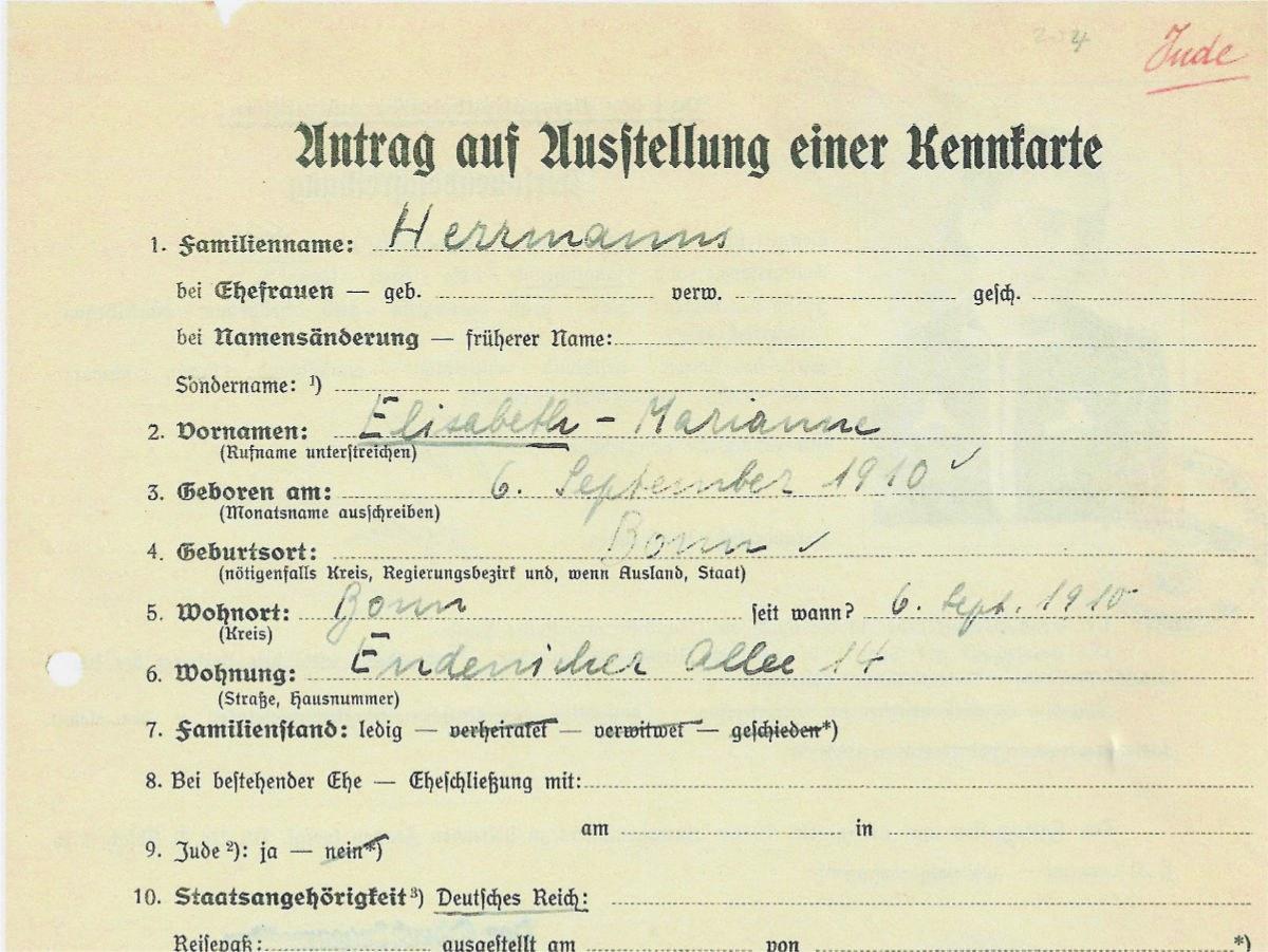 Kennkarte aus dem Stadtmuseum Bonn