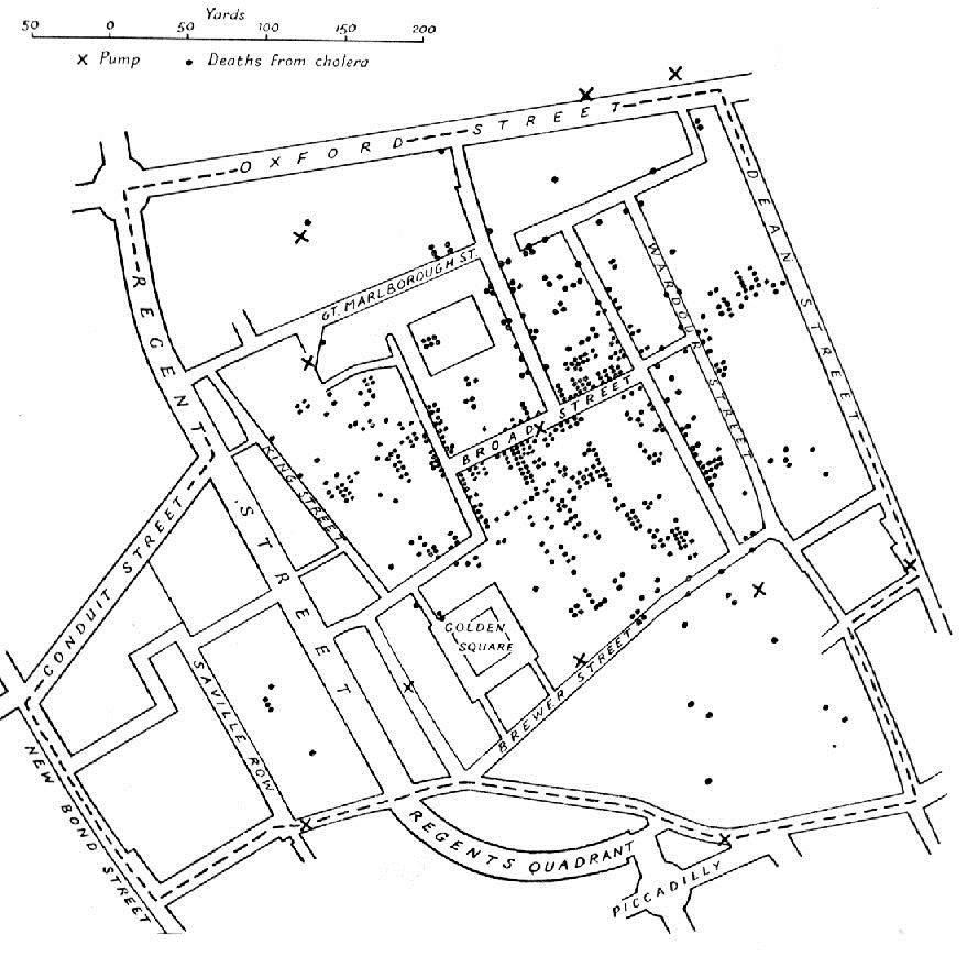 Snows Karte mit eingezeichneten Cholera-Fällen