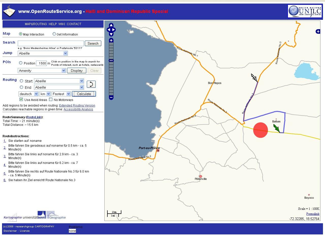 Bild Routenplaner für Haiti nach Hurrikan Ike