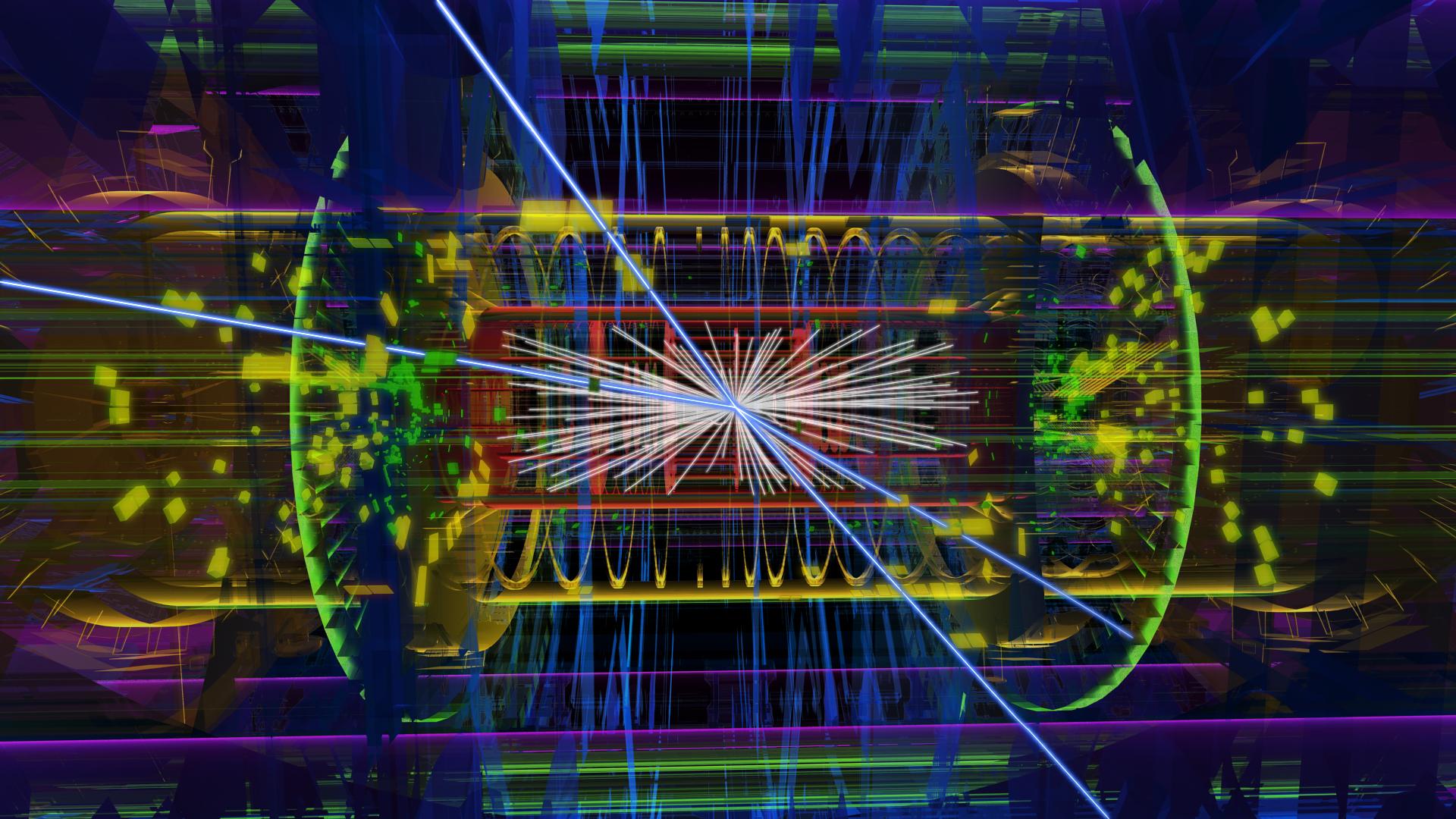 Reaktionsprodukte einer Teilchenkollision am Large Hadron Collider: