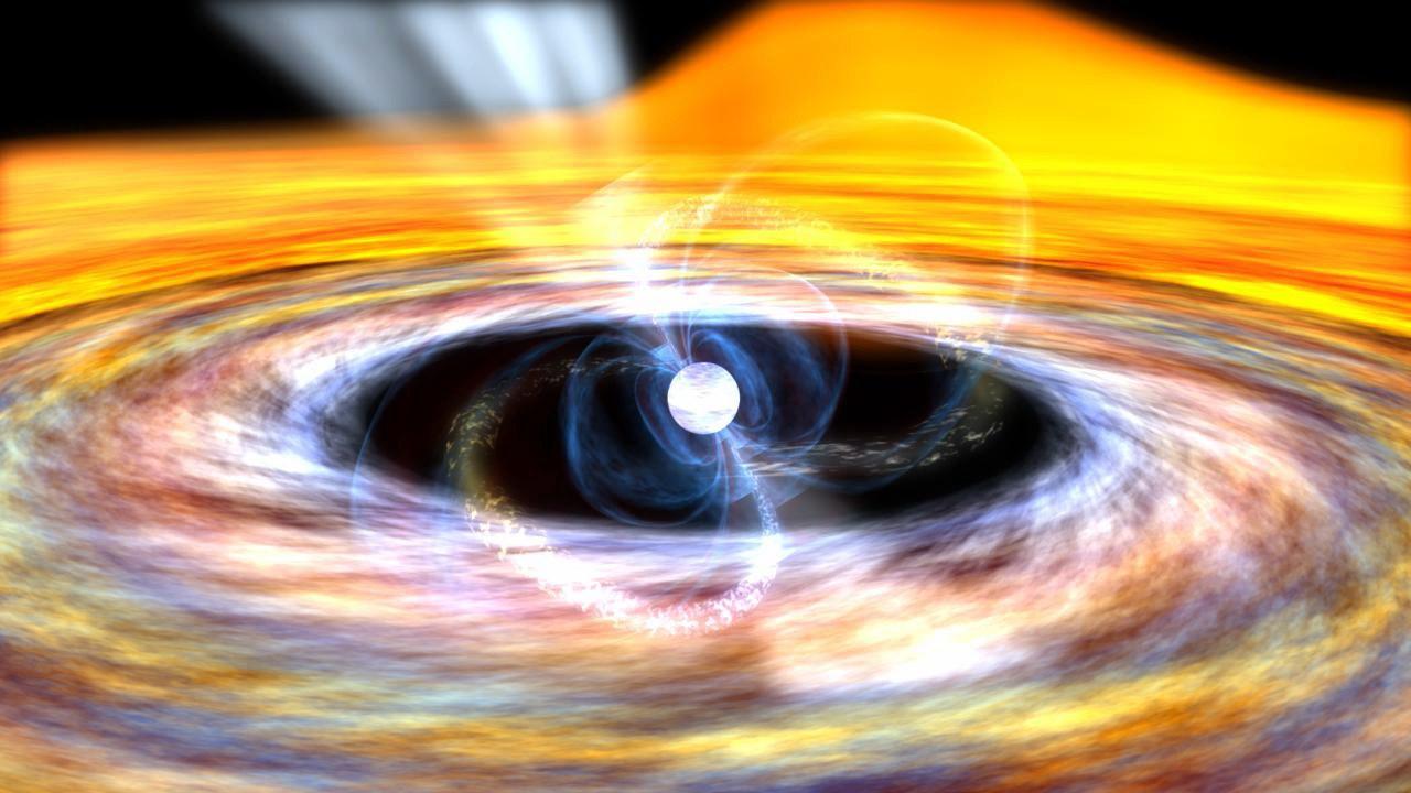 Künstlerische Darstellung eines Millisekunden-Pulsars: