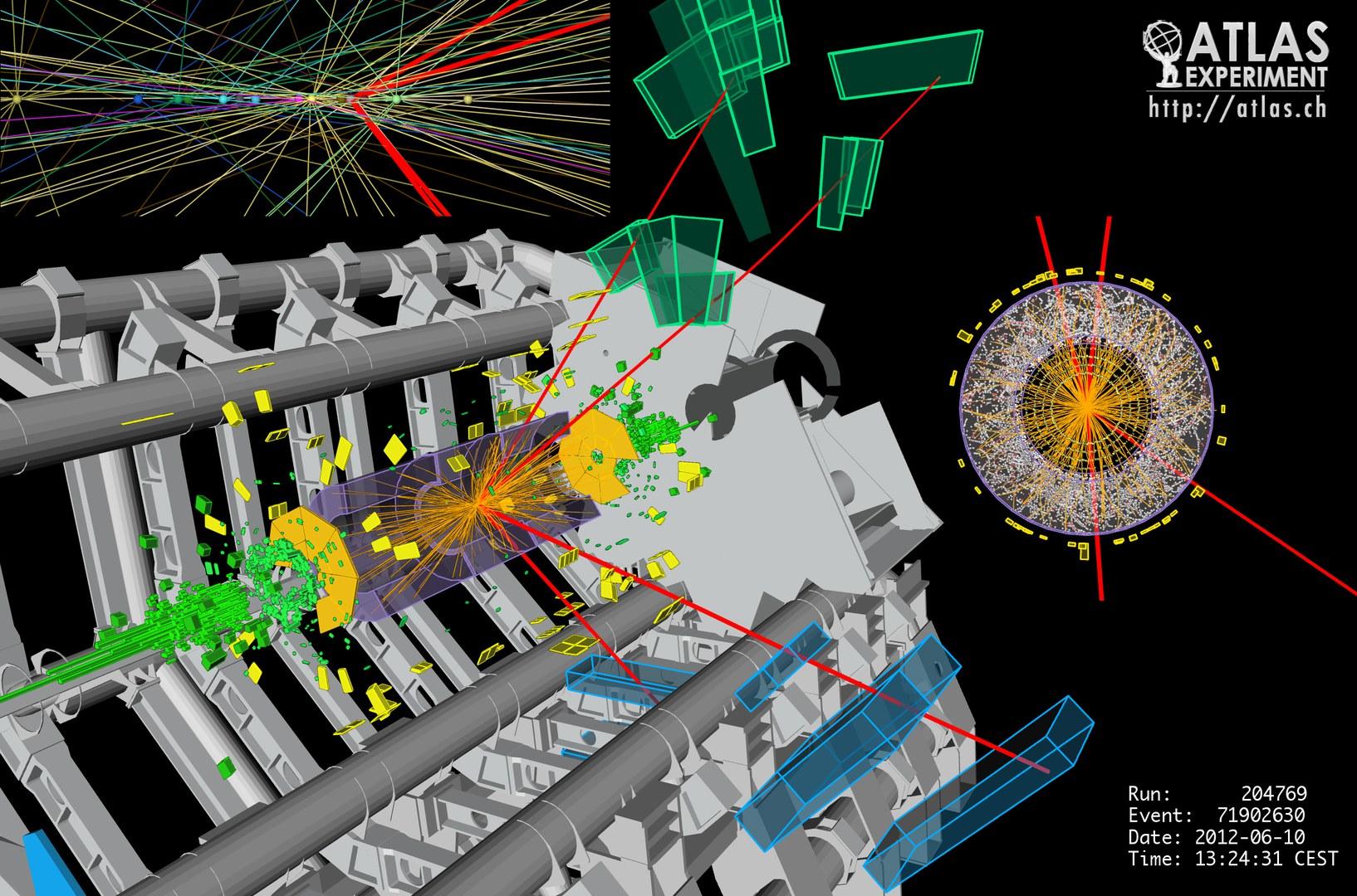 Kandidat für den Zerfall eines Higgs-Bosons im ATLAS-Detektor: