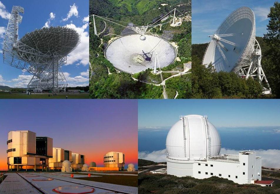 Die Radioteleskope und optischen Teleskope,