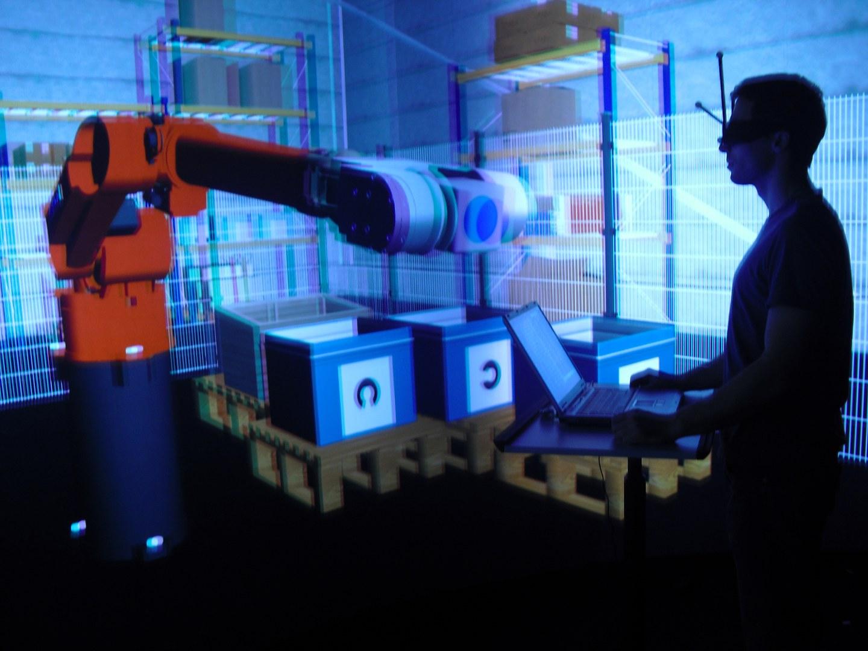 Im Virtual-Reality-Labor des Instituts für Arbeitsschutz in Sankt Augustin: