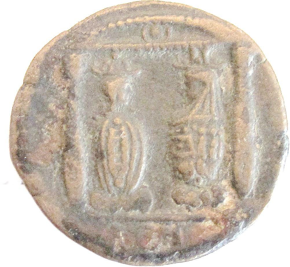 Bronzemünze mit Darstellung der Götter Isis und Serapis