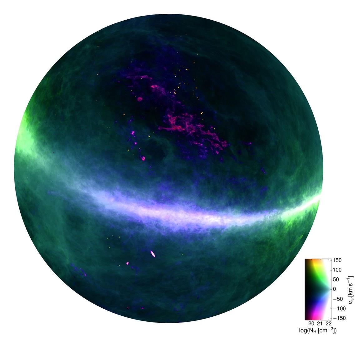 Der Nordhimmel im Licht des atomaren Wasserstoffs (HI):