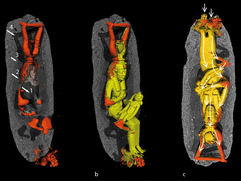 Die Figur der Göttin Isis mit dem Horuskind im Mikro-Computertomograph