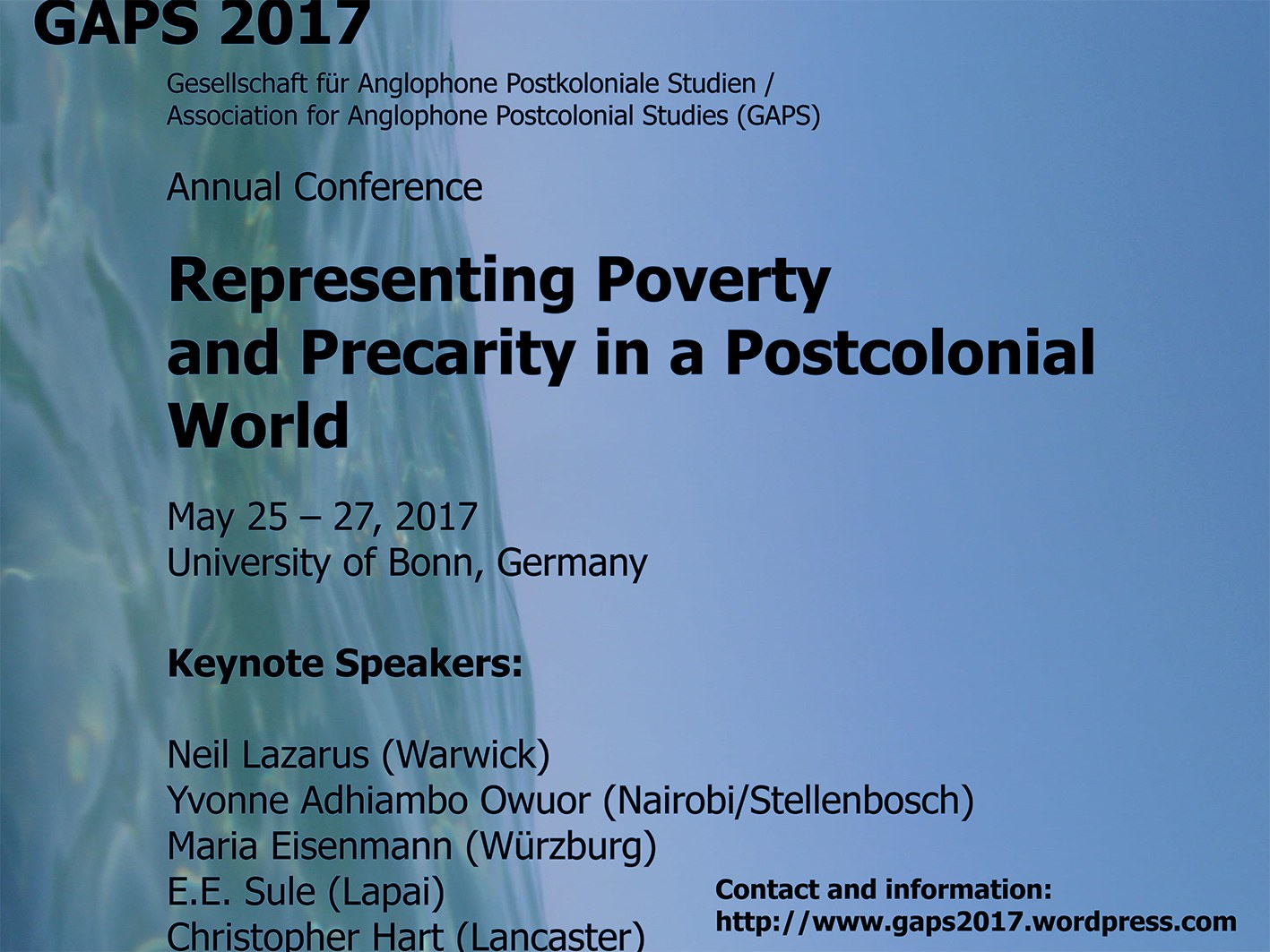 """Die Konferenz """"Representing Poverty and Precarity in a Postcolonial World"""""""