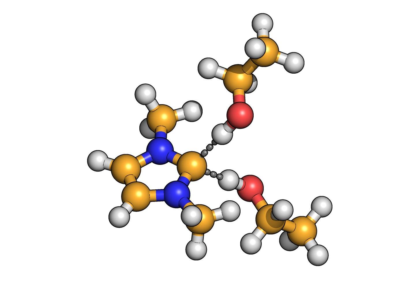 Das Kohlenstoff-Atom des Carbens (gelb)