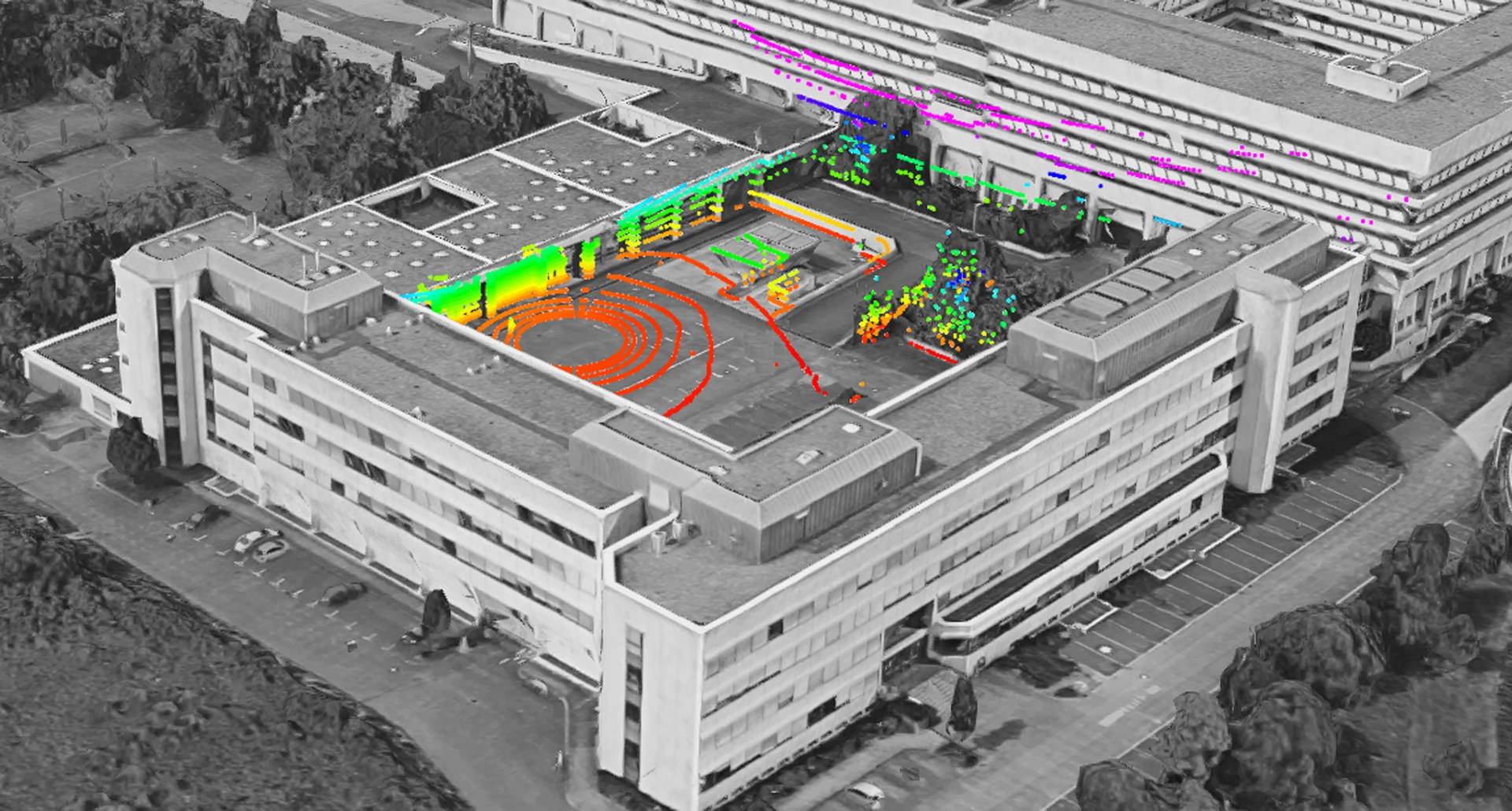Gebäude mit 3D-Lasermessungen