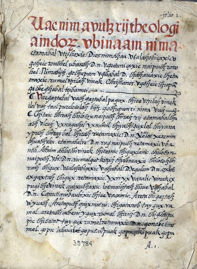 Die erste Seite des Manuskripts der Theologia Indorum