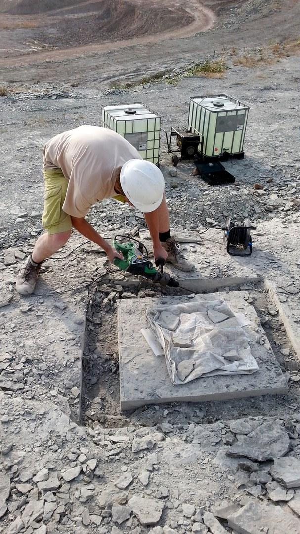 Jelle Heijne bei der Bergung eines Fischfossils