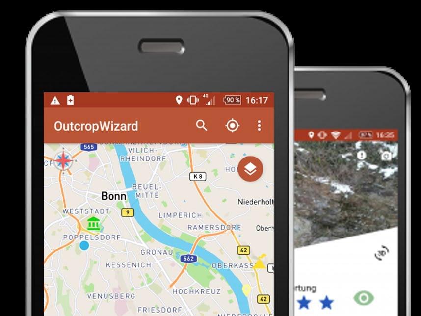 Die App OutcropWizard weist auf dem Smartphone