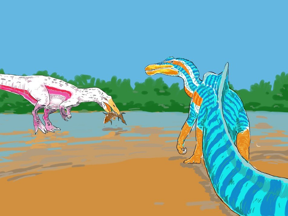 Scene with two species of spinosaurs in the same habitat