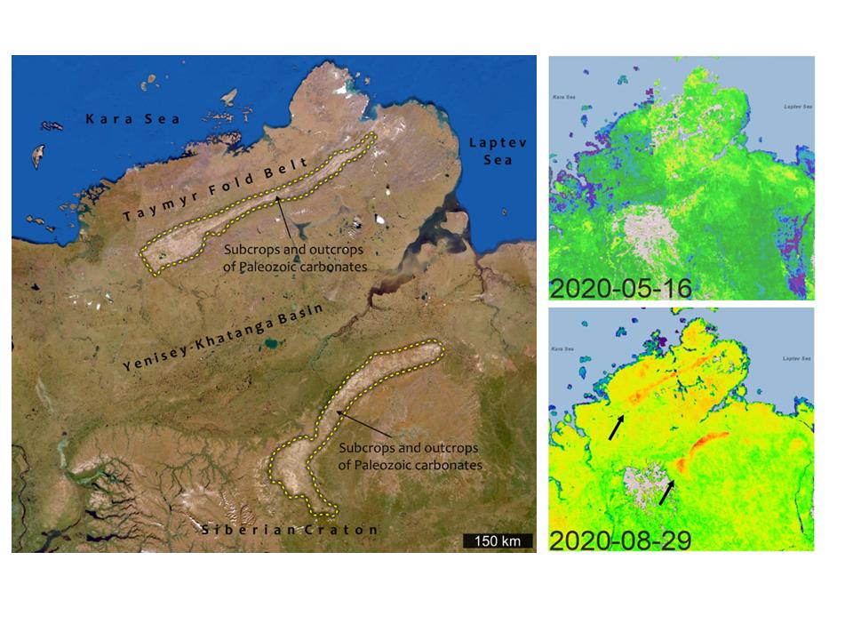 Esquerda: Imagem de satélite do Norte da Sibéria. - Duas áreas de calcário paleozóico são marcadas com linhas tracejadas amarelas. Superior direito: concentração de metano medida por satélite em maio de 2020; inferior direito: em agosto de 2020. © N. Froitzheim & D. Zastrozhnov, usando dados do GHGSat (https://pulse.ghgsat.com/)