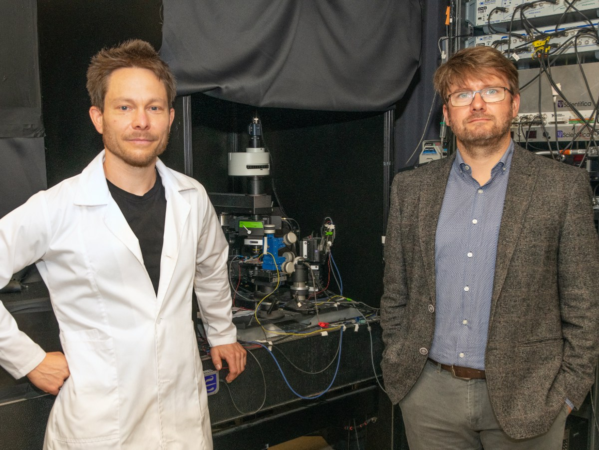 At the experimental setup for combined electrophysiology and fluorescence microscopy: