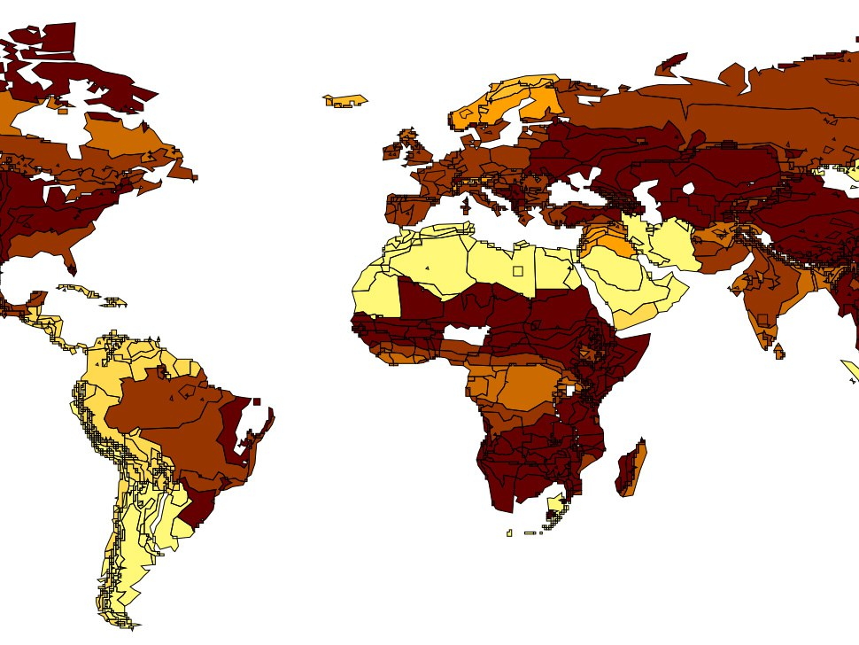The figure shows the predicted decline in forested areas across the world